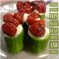 Pickled Cucumber Cups with Goat Cheese and Pickled Fruit