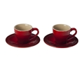 Espresso Set of 2 Cups and Saucers - Cherry