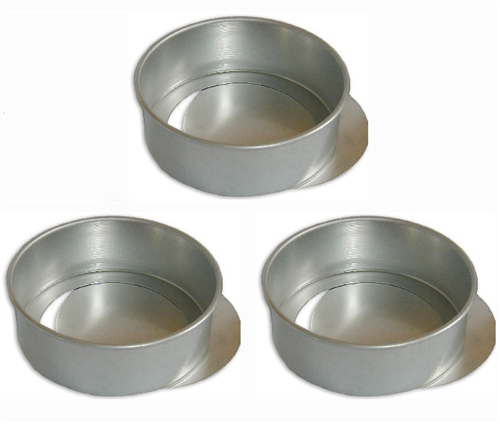 3 Round Cake Pans with Removable Bottoms - 9 x 2