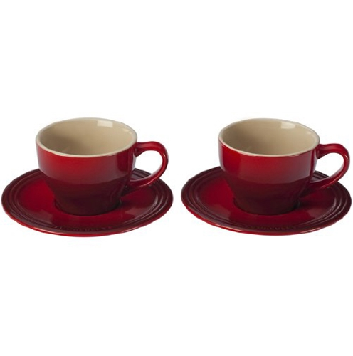 Cappuccino Set of 2 Cups and Saucers - Cherry