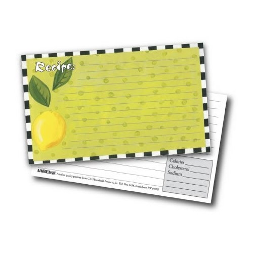 3x5 Recipe Cards and Protectors - Lemon