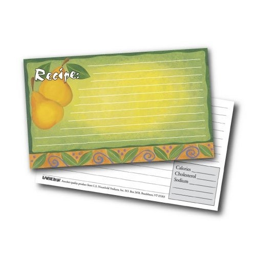 3x5 Recipe Cards and Protectors - Pears